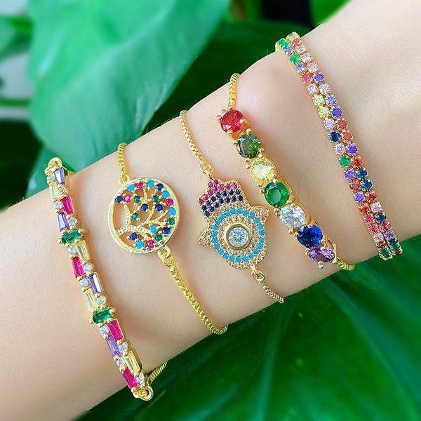 Irregular colorful zircon romantic alloy love alloy bracelet NHAS132637