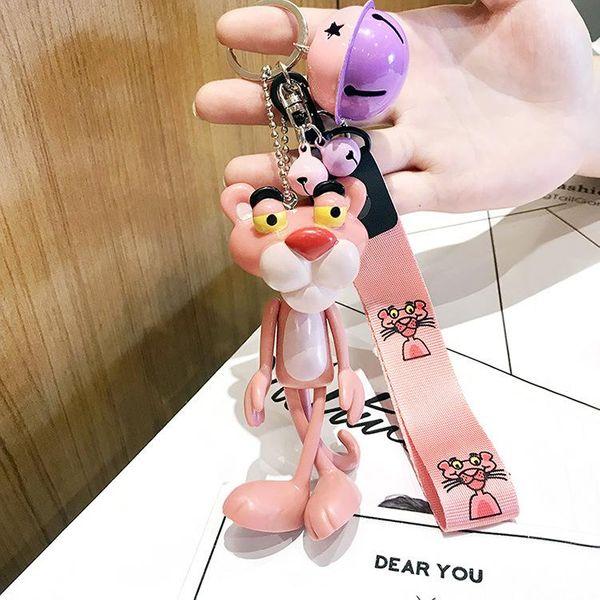 Cute little pink leopard bag chain key chain NHCB138686