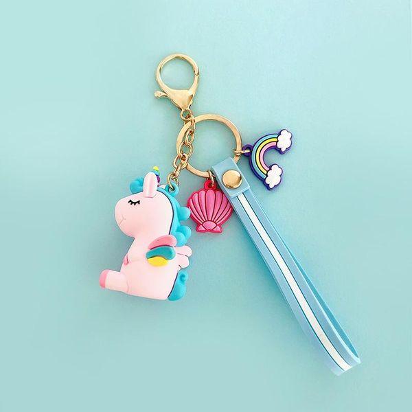 Cute unicorn bag chain key chain multicolored NHCB138688