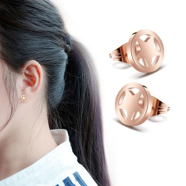Fashion simple plated 18K alloy titanium steel circle star stud earrings NHOK138799