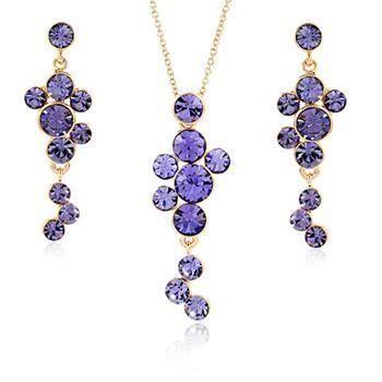 Ensemble de boucles d'oreilles collier en cristal imité raisin violet à la mode NHLJ138820's discount tags