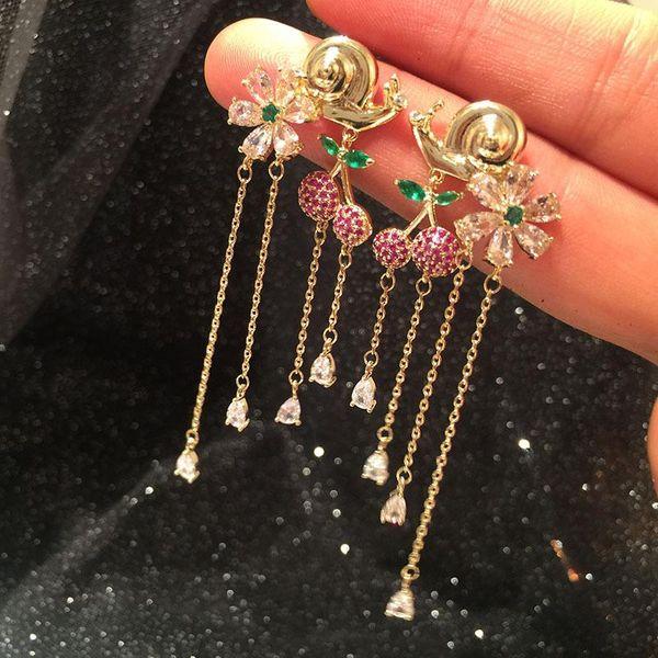 Womens Heart Shaped Micro Inlay Copper Earrings NHWK138822