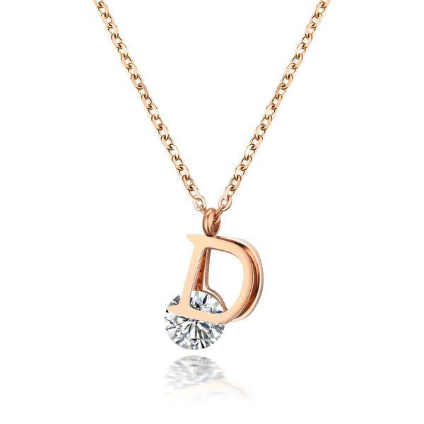 Korean version of titanium steel rose alloy necklace NHIM138832