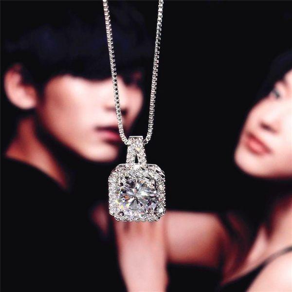 Korean Shiny Zircon Square Rhinestone Necklace NHIM138850