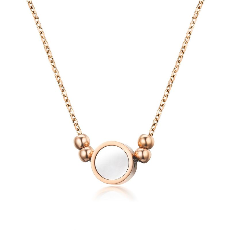 Fashion Round White Shell Stainless Steel Rose Alloy Necklace NHIM138863