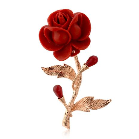 Fashionable red rose brooch NHLJ138866's discount tags