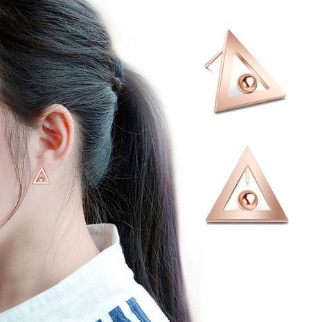 Korean rose alloy 18K alloy triangle stud earrings NHOK138868's discount tags