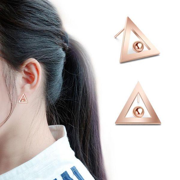 Pendientes triangulares coreanos chapados en oro rosa de 18 quilates NHOK138868