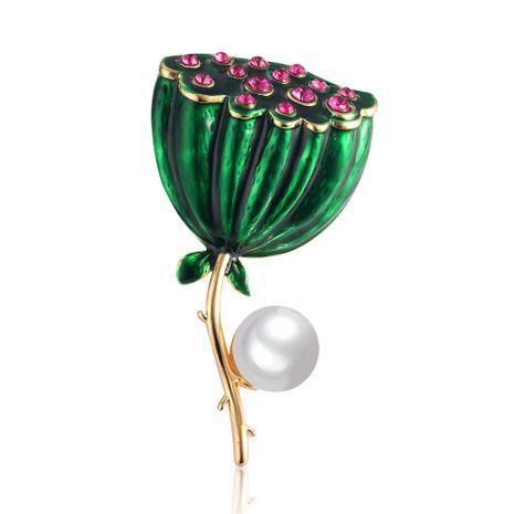 Moda Lotus Oil Drop Diamante Broche de perlas naturales NHDR138871's discount tags