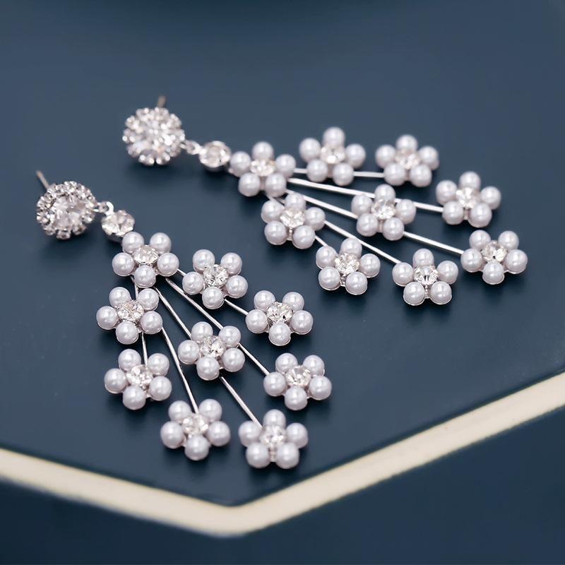 Womens Floral Copper Zircon Earrings NHDO138875