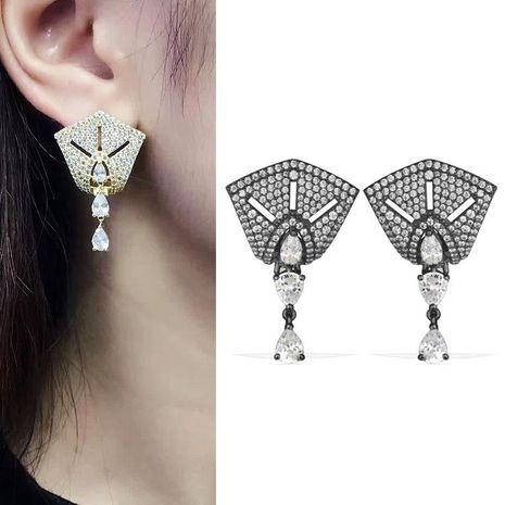 Fashion exaggerated AAA zircon gun black earrings NHLJ138878's discount tags