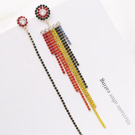 Fashion Rainbow Rhinestone Long Tassel Stud Earrings NHDO138888's discount tags