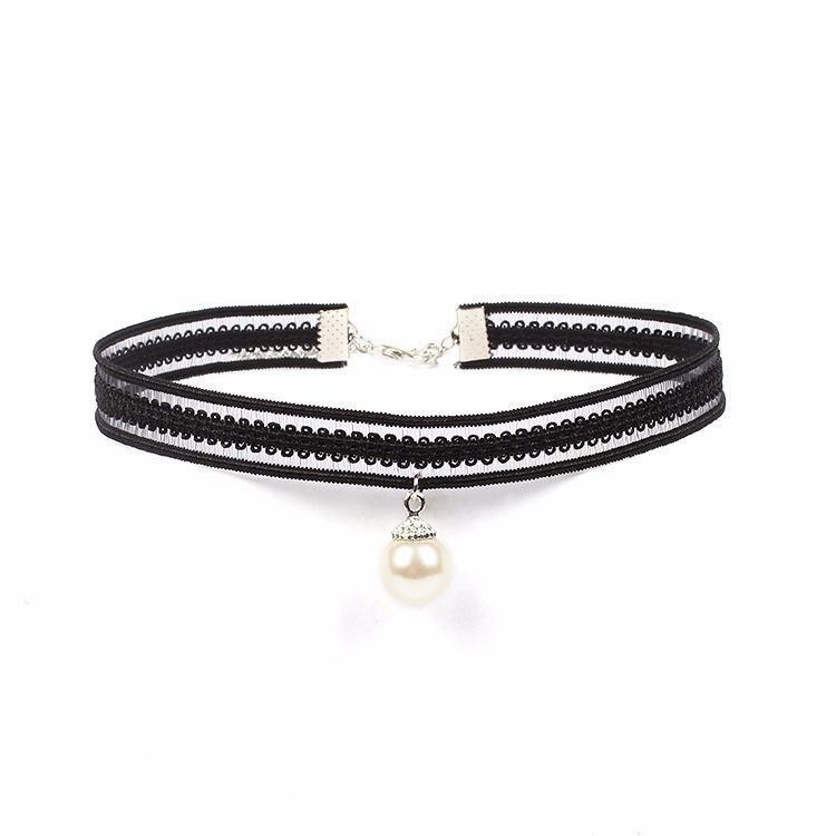 Lace choker necklace tassel necklace set NHIM138890