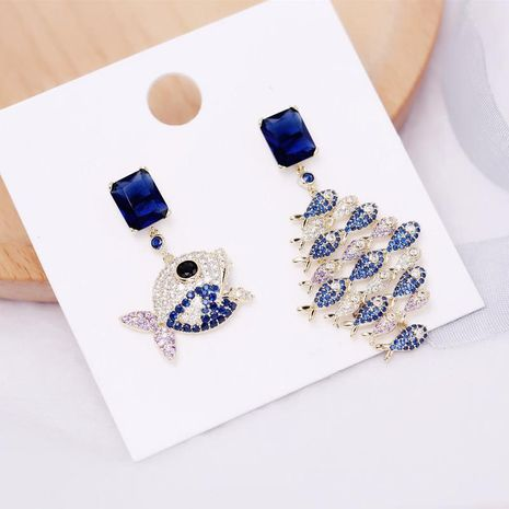 Fashion deep sea blue zircon cute earrings NHDO138895's discount tags