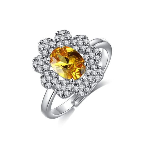 Womens Floral Copper Zircon Rings NHTM138898's discount tags