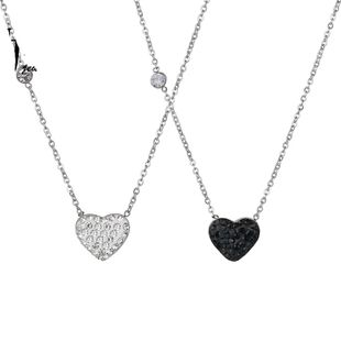 Simple and stylish rhinestone heart-shaped titanium steel necklace NHHF138919's discount tags