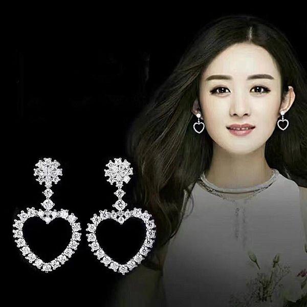 Korean version of AAA zircon heart-shaped peach earrings NHLJ138921