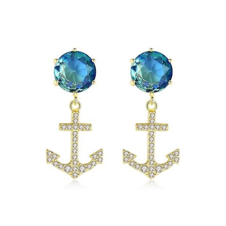 Creative color zircon rudder anchor earrings NHTM138926's discount tags