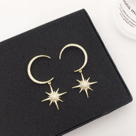 Fashion micro-inlaid zircon crescent star earrings NHWK138927's discount tags