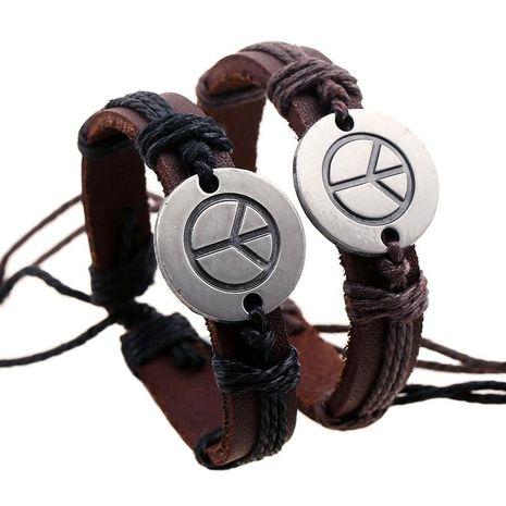 Vintage woven hemp rope alloy peace logo leather bracelet NHPK138929's discount tags
