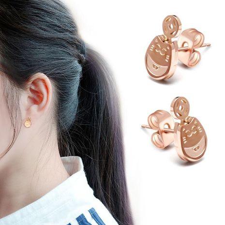 Womens cartoon character plated titanium steel Omega card Earrings NHOK138939's discount tags