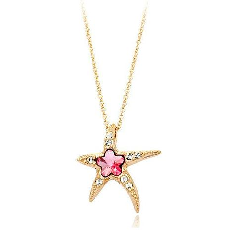 Womens Heart-Shaped Rhinestone Red Apple Necklaces NHLJ138950's discount tags