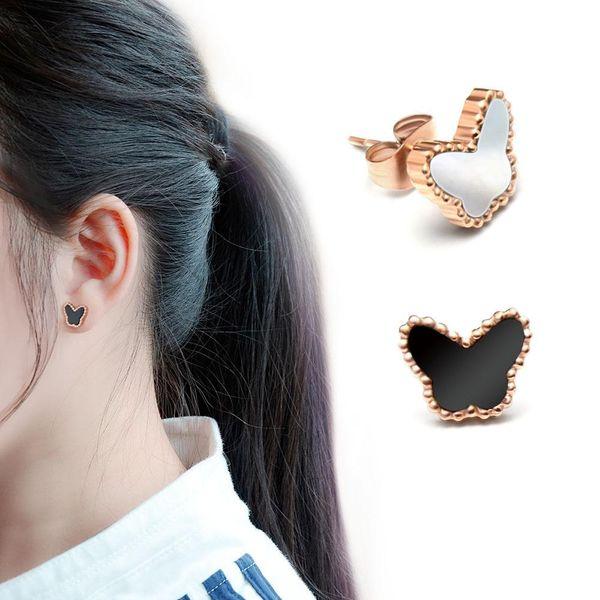 Titanium steel rose alloy butterfly black and white shell earrings NHOK138971