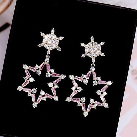 Stylish zircon snowflake six-star temperament earrings NHDO138972's discount tags