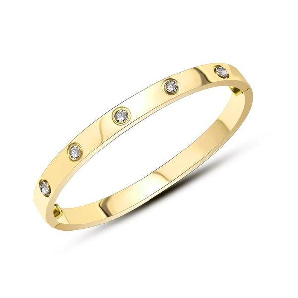 Titanium steel rose alloy material buckle full rhinestone bracelet NHOK138977