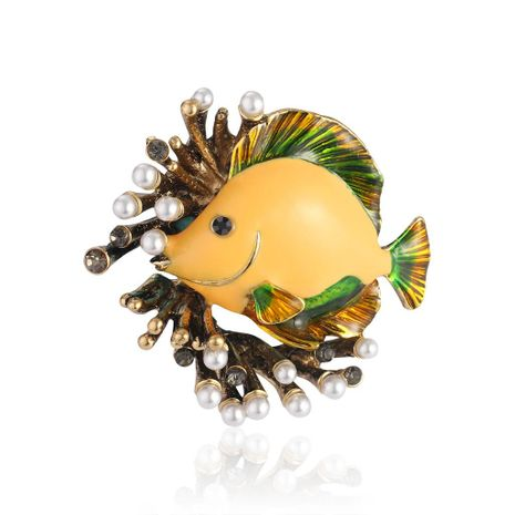 Coral beads fish dripping oil 珐琅 high-grade brooch NHDR138988's discount tags