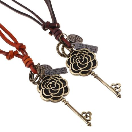 Vintage leather openwork flower alloy keychain NHPK138991's discount tags