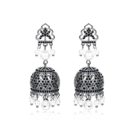 Womens Geometric Copper Inlay Zircon Earrings NHTM138997's discount tags