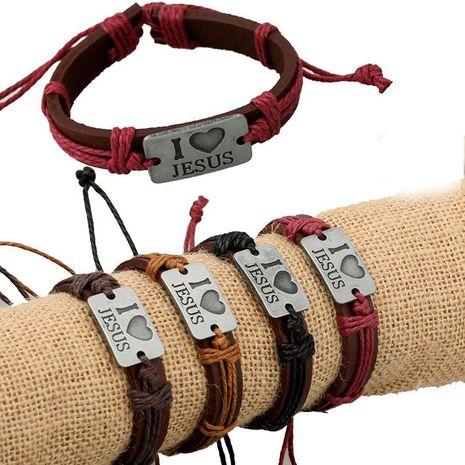 Fashion I Love Jesus Alloy Leather Bracelet NHPK139016's discount tags