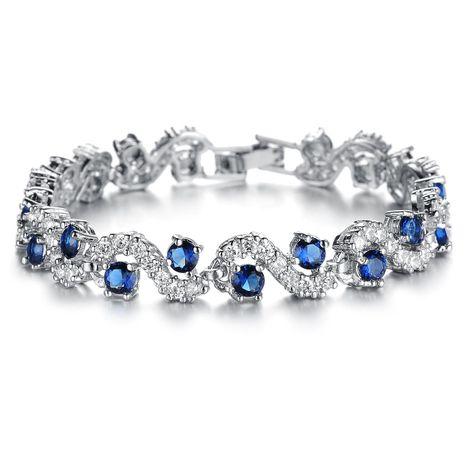 Flash Rhinestone AAA Zircon Platinum Plated Bracelet NHOP139028's discount tags