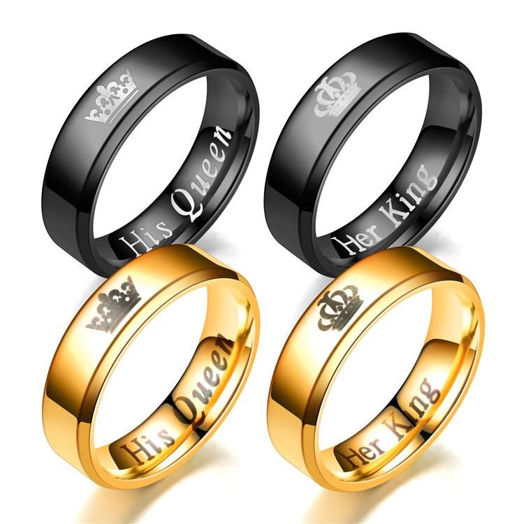 Fashion couple beveled crown ring NHTP139039