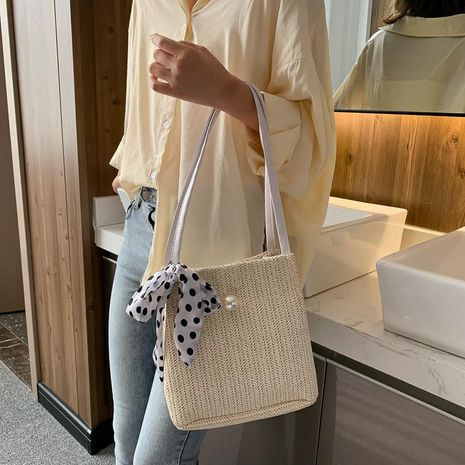 Fashion scarf bow single shoulder woven bag NHXC141483's discount tags