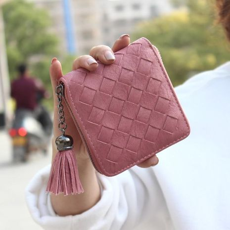 Korean version of the large tassel solid color short woven solid color PU leather wallet NHNI141488's discount tags