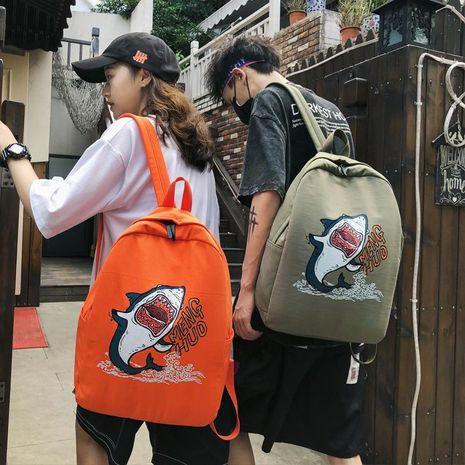 Korean version of Harajuku shark pattern vintage backpack NHXC141536's discount tags
