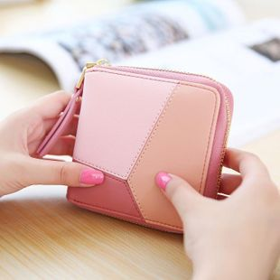 Korean version of the color square simple geometric pattern two fold zipper wallet NHNI141545's discount tags