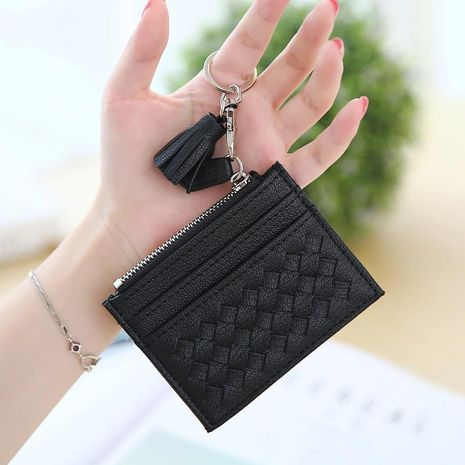 Simple woven card bag zipper mini coin purse NHNI141570's discount tags