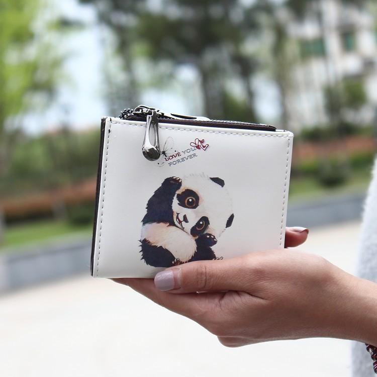 Cartoon cute double zipper two fold buckle short wallet NHNI141608