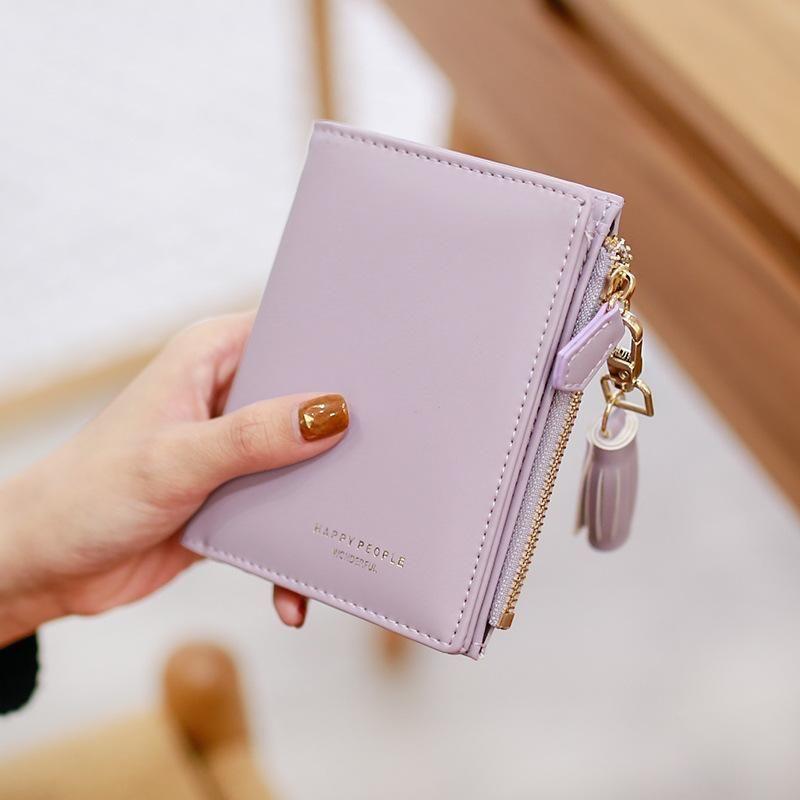 Fashion tassel side zip coin change two fold wallet NHNI141611
