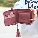Korean version of the large tassel solid color short woven solid color PU leather wallet NHNI141488