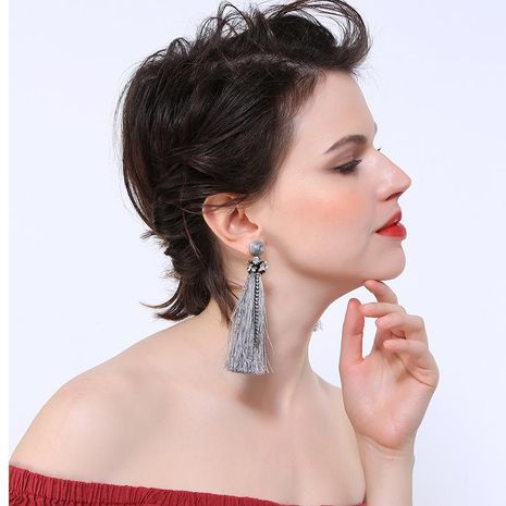 Creative long fringed rhinestone earrings NHQD141626's discount tags