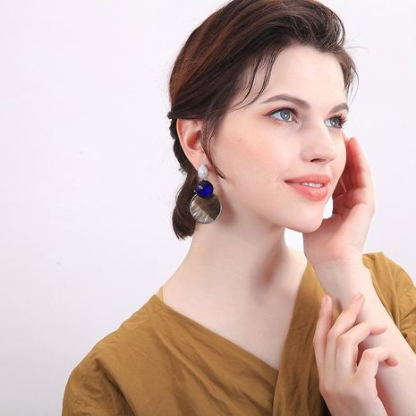 Creative geometric shell paper rhinestone earrings NHQD141627's discount tags