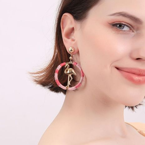 Fashion plating color line winding ring bird alloy earrings NHQD141647's discount tags