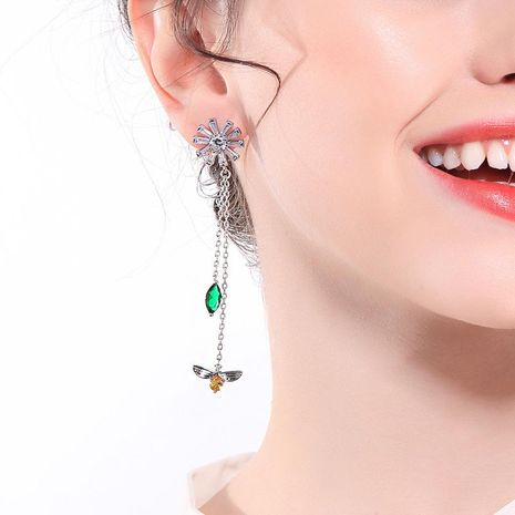 Long flower zircon rhinestone insect earrings NHQD141648's discount tags