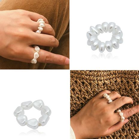 Simple Baroque Shaped Beads Elastic Ring NHXR141650's discount tags