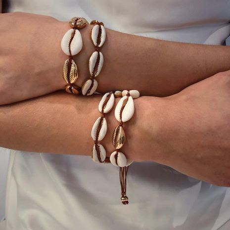 Geometric oil shell weave set bracelet NHXR141664's discount tags