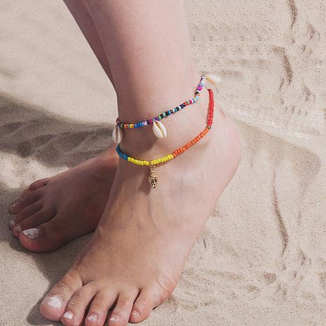 Ethnic wind hit color rice beads beach shell anklet bracelet NHXR141666's discount tags